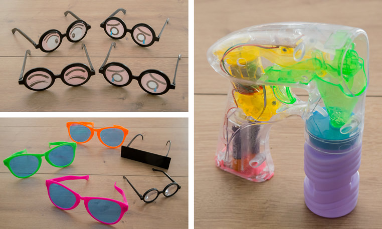 Motto Fotobox - Premium Accessoires - XXL Brille, Seifenblasenpistole